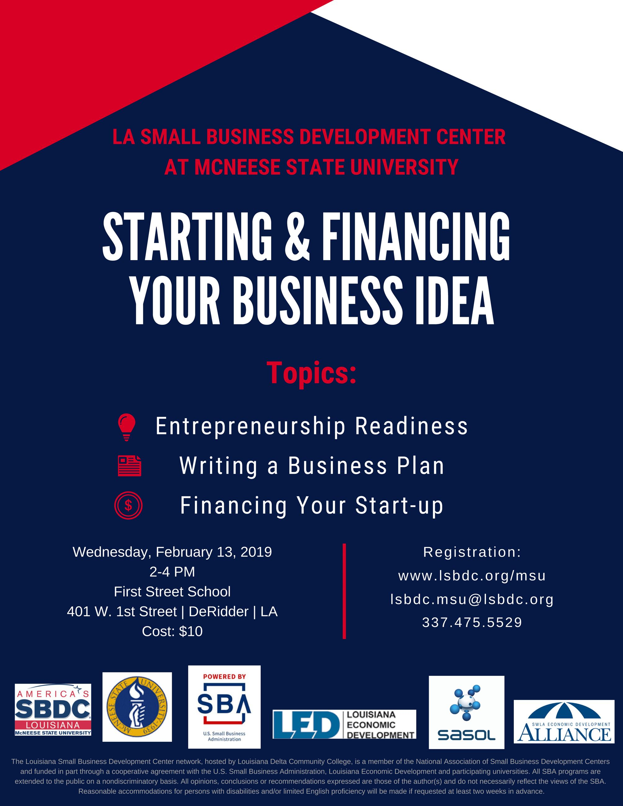 Starting  Financing Your Business Idea Feb 13